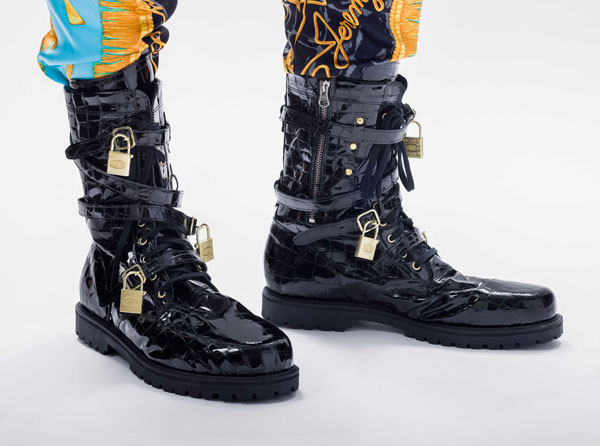 Leather boots with metal locks