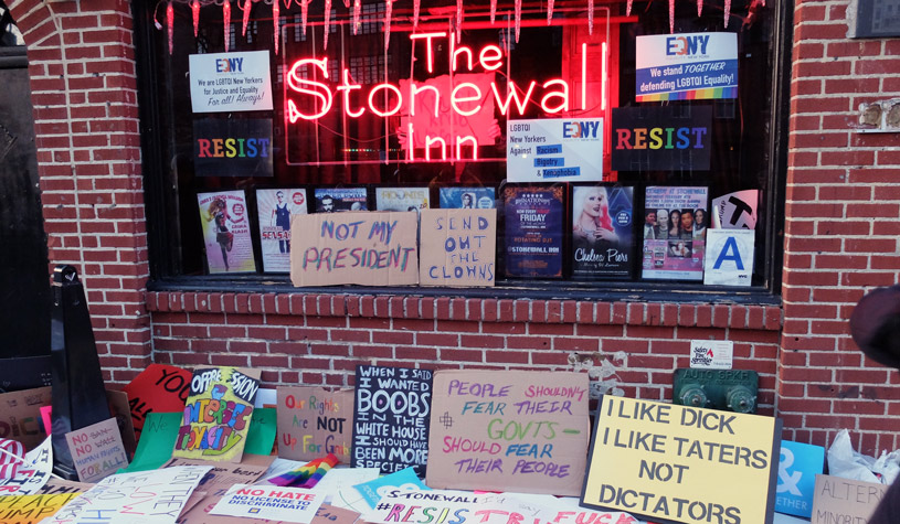 stonewall with protest signs
