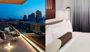 split view of deck and bedroom