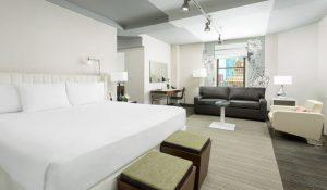 Luxurious hotel room at hotel stewart