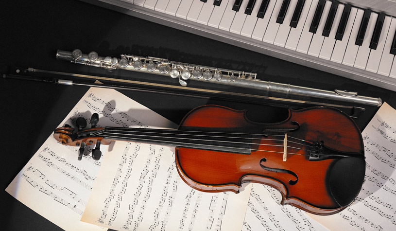 violin, piano and flute