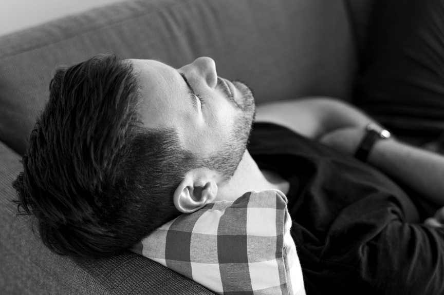 Sleeping Man on couch