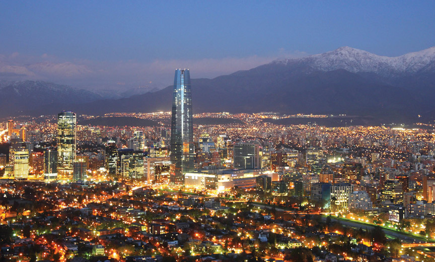 Chile with mountains in background