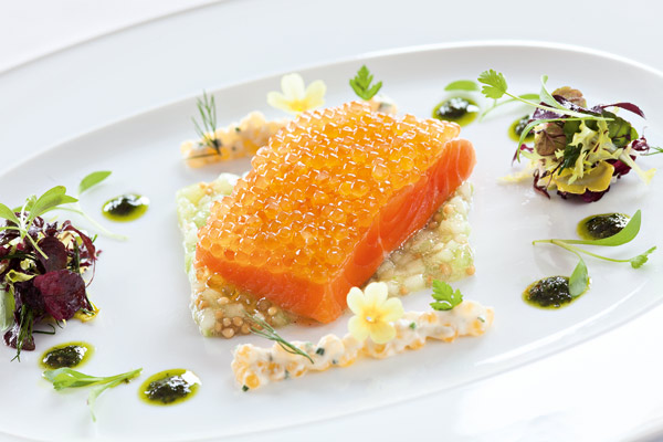 Lake char on cucumber risotto by Chef Harald Wohlfahrt