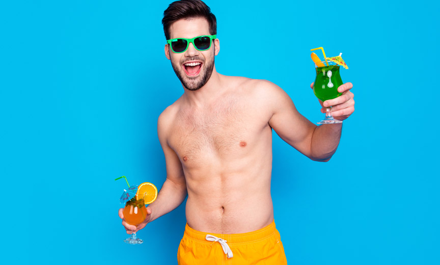 Beach Guy with Cocktails