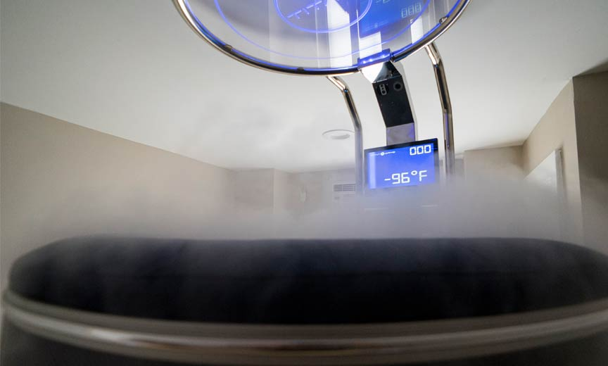 cryosauna reading negative 96 degrees Fahrenheit