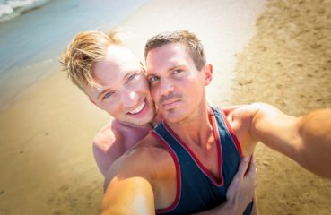gay selfie on beach