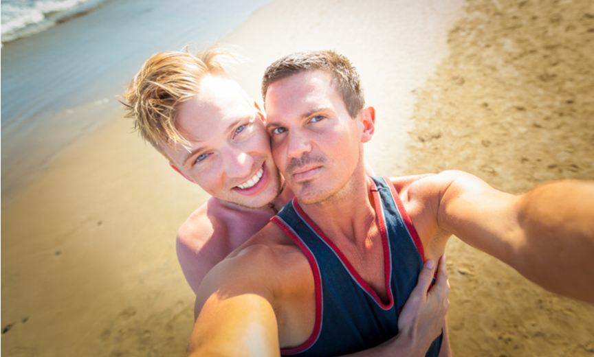 gay selfie on beach