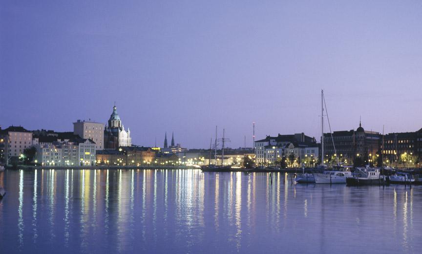 Twilight falls over South Harbor in Helsinki