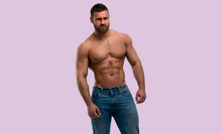 bearded man with abs