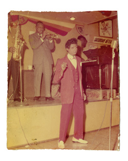 Jackie Shane in purple suit