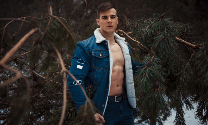 sexy man amidst the trees