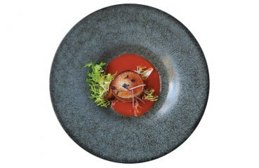 bacon-wrapped scallop with a bloody mary sauce