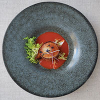 Bacon-Wrapped Scallop with a Bloody Mary Kick