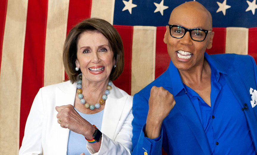 Nancy Pelosi with RuPaul in drag race all stars 3