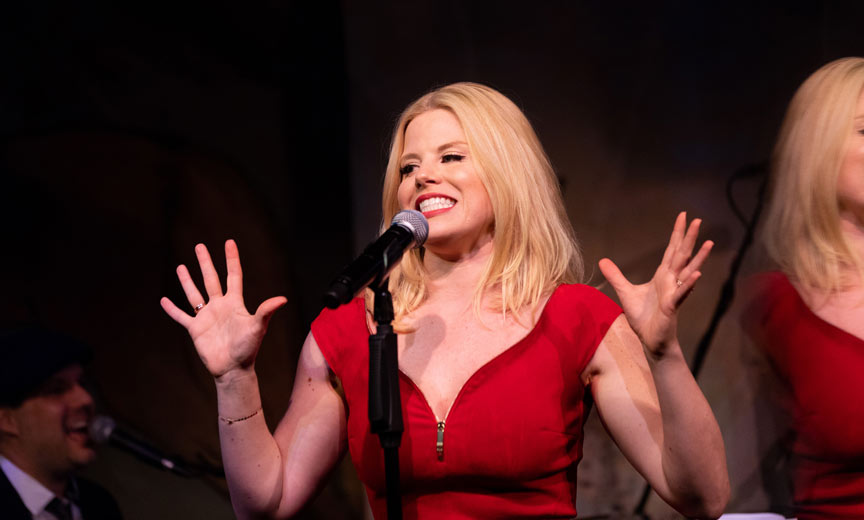 megan hilty joking at the cafe caryle