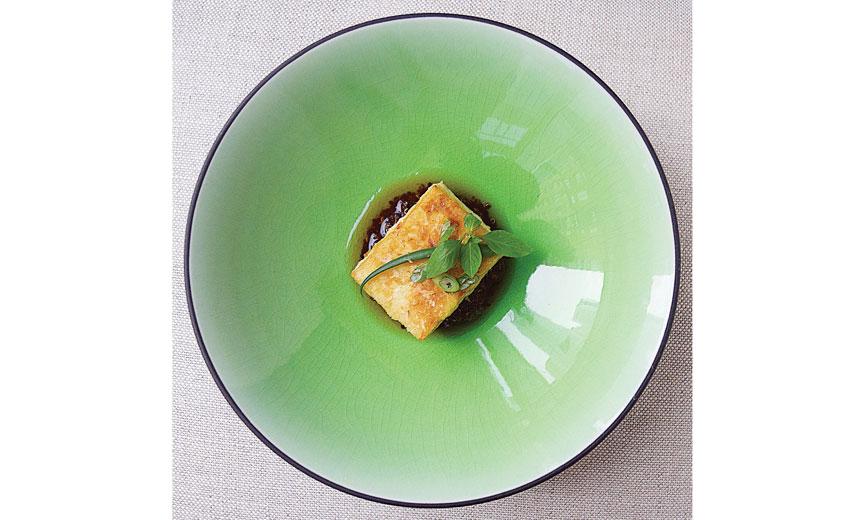 Fried Tofu on Quinoa with Black Garlic and Dashi