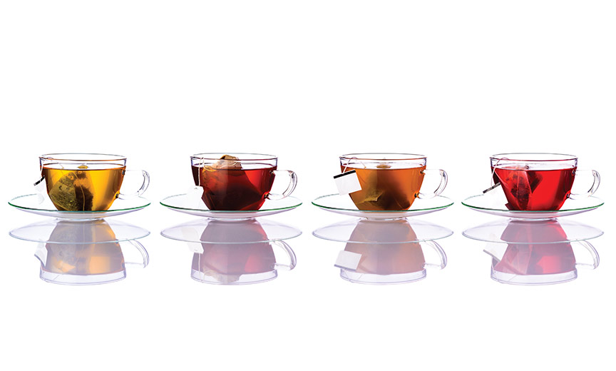 teas in glass cups