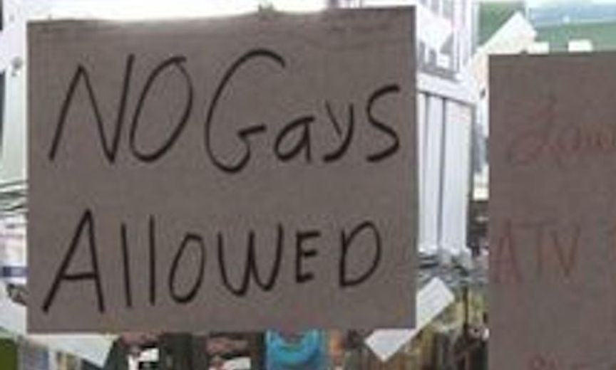 No Gays Allowed sign