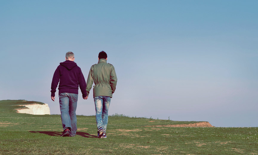 same sex couple holding hands