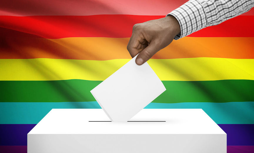 Ballot box before a Rainbow Flag