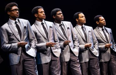 "L-R: Ephraim Sykes, Jeremy Pope, Jawan M. Jackson, James Harkness and Derrick Baskin in ""Ain't Too Proud. ""Photo by Matthew Murphy"