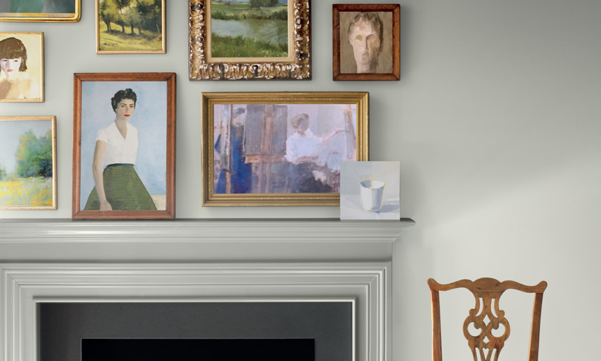 Benjamin Moore's Color of the Year Featured on a Wall with Art