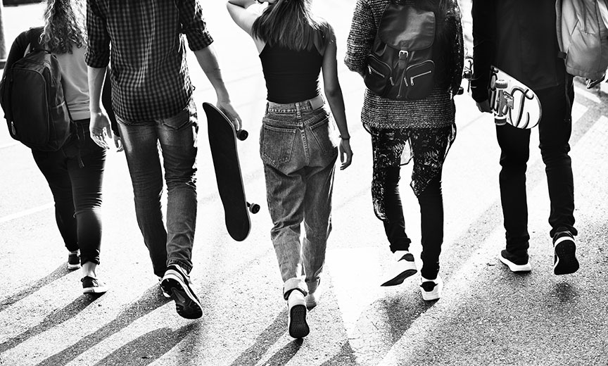 group of young people walking