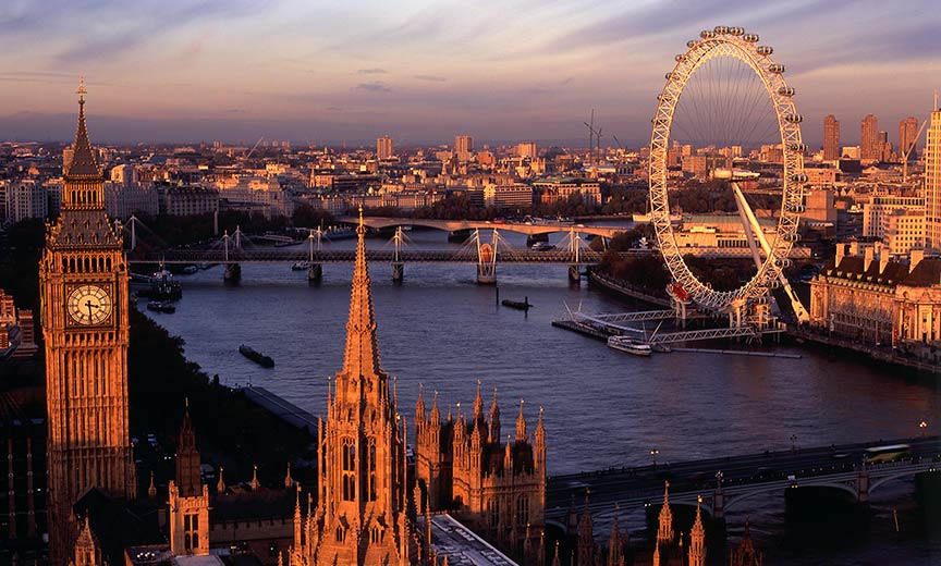 Palace of Westminster, Big Ben, the Thames, and the London Eye