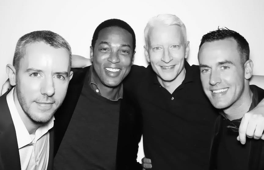Benjamin Maisani, Don Lemon, Anderson Cooper, and Lemon's partner Tim Malone.