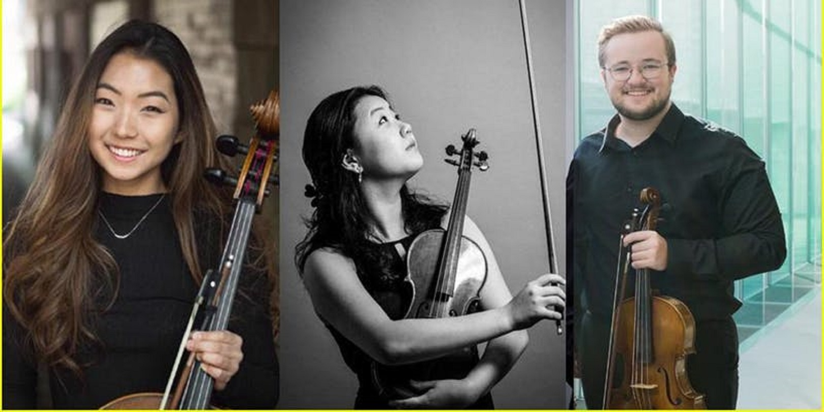split image with string trio