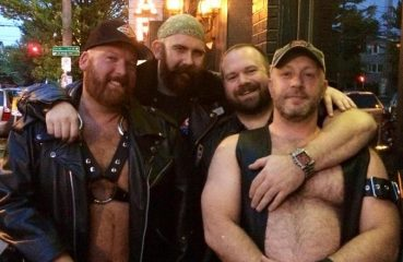 bear men in front of Diesel Bar Seattle