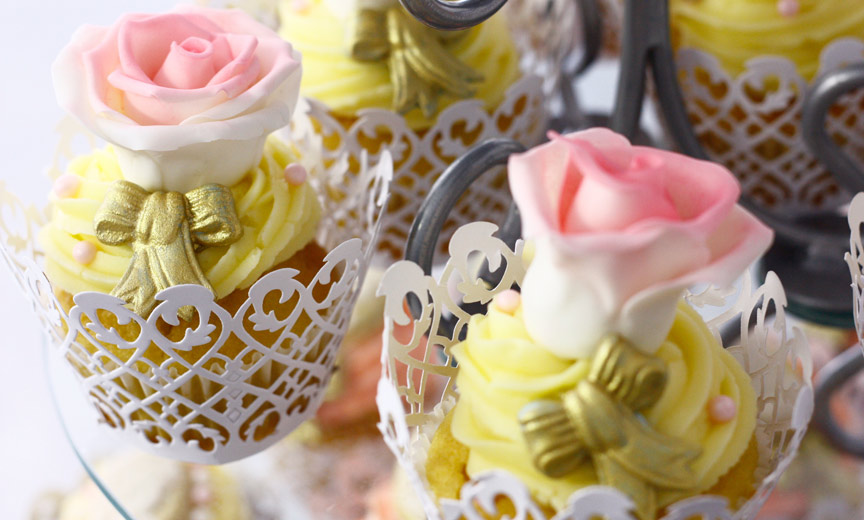 fancy cupcakes with icing roses