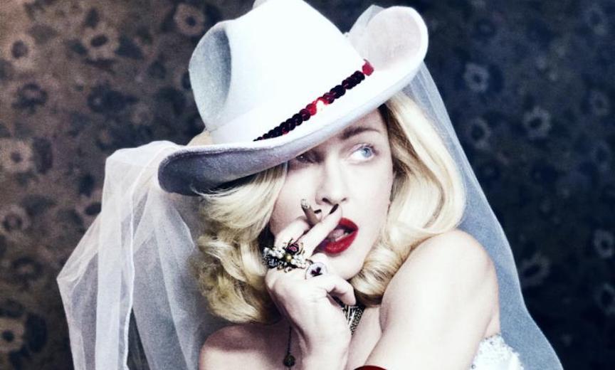 Madonna smoking white hat