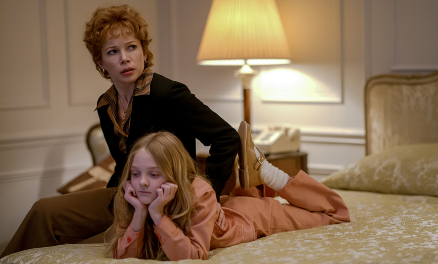 Michelle Williams as Gwen Verdon and Blake Baumgartner as Nicole Fosse
