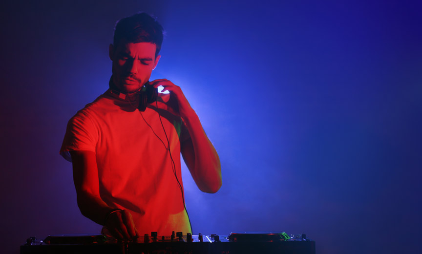 DJ in red and blue light