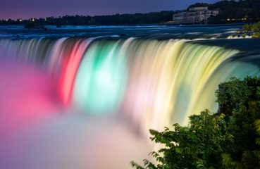 Niagara falls rainbow lights
