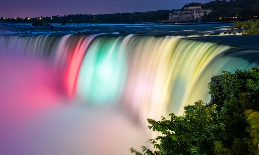 Niagara falls rainbow lights