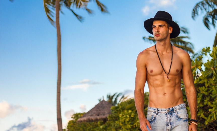 Handsome Man Walking the Beach