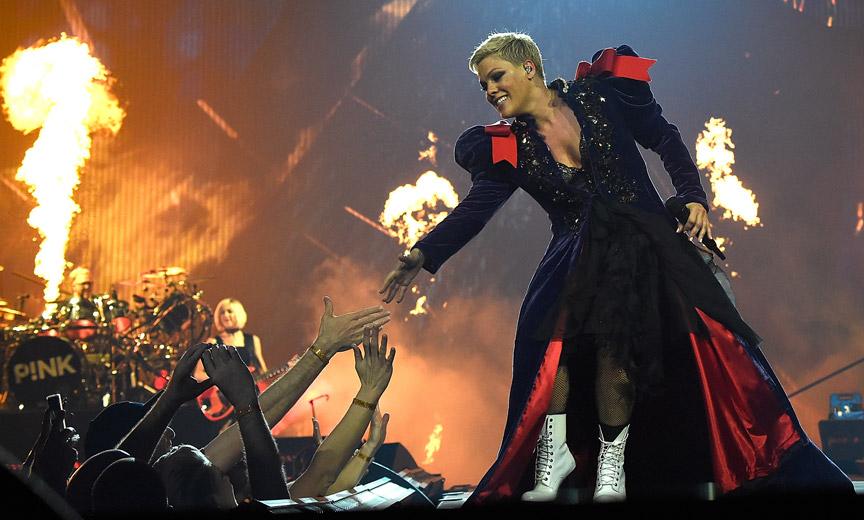 Pink on her Beautiful Trauma World Tour