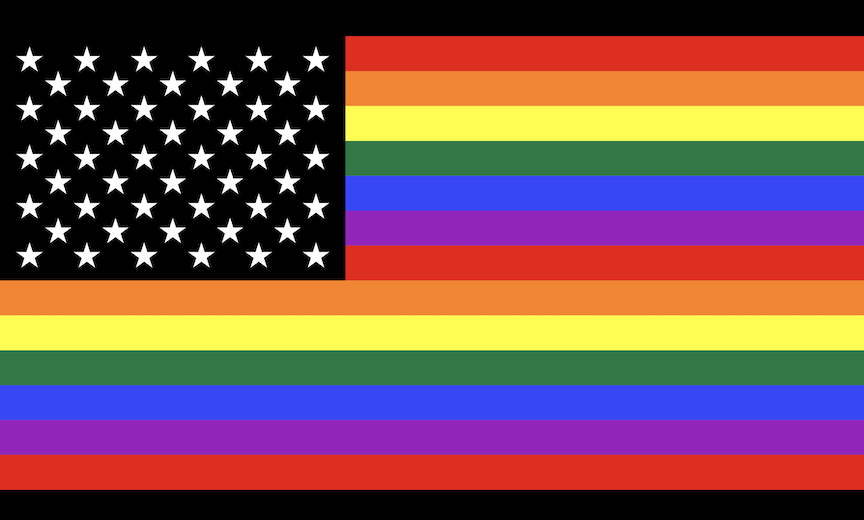 Rainbow flag Gay_flag.svg: Gilbert Baker, 1979Flag_of_the_United_States.svg: United States Government, 1959derivative work: Julyo [CC BY-SA 3.0 (https://creativecommons.org/licenses/by-sa/3.0)]