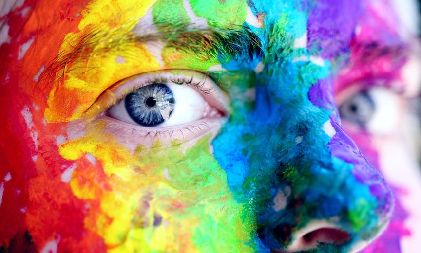 rainbow painted face