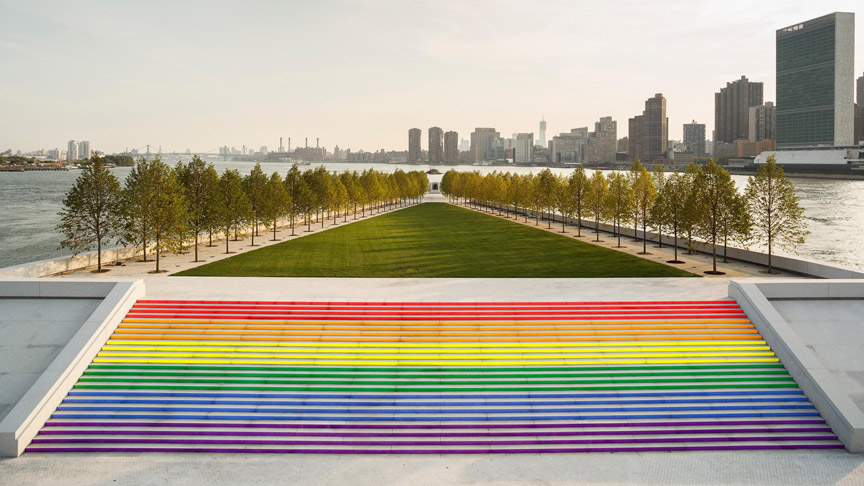 The Steps of FDR Four Freedoms Park Transformed for Pride