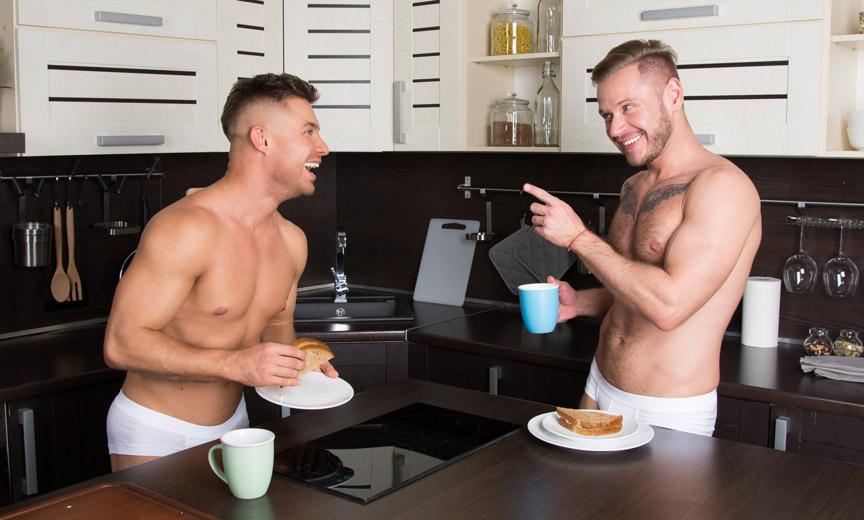 Gay Couple Sharing Breakfast