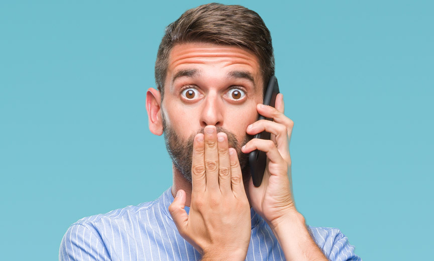 Shocked Man on Phone