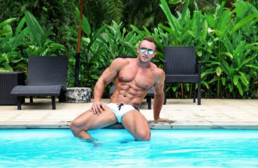 hot man by pool