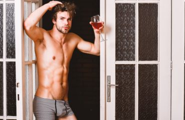 drinking wine in underwear