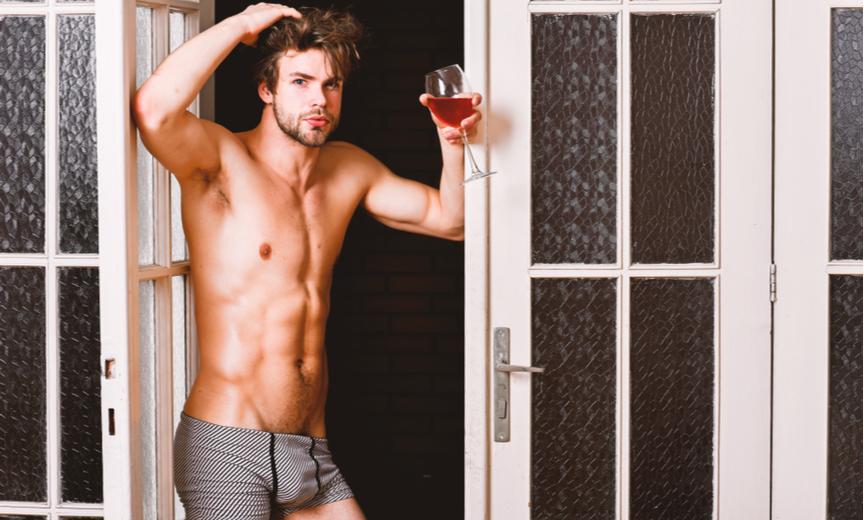 drinking wine in underwear