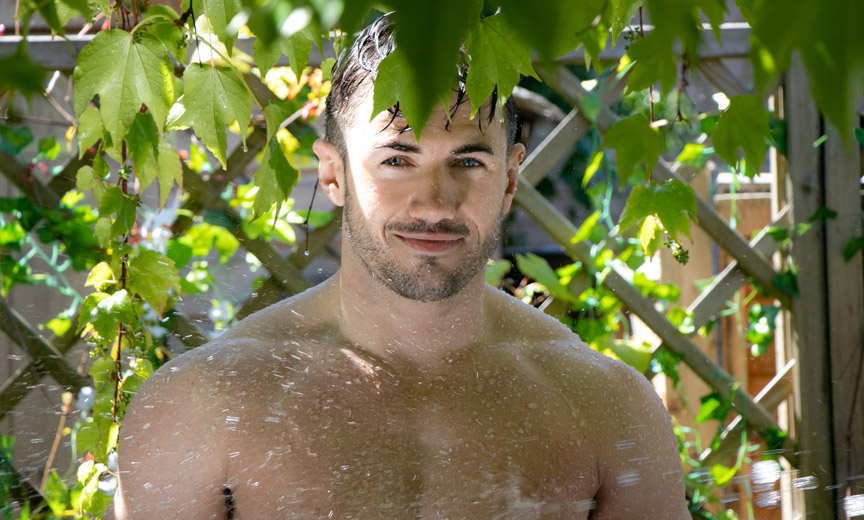 A Shirtless Gardener Hiding