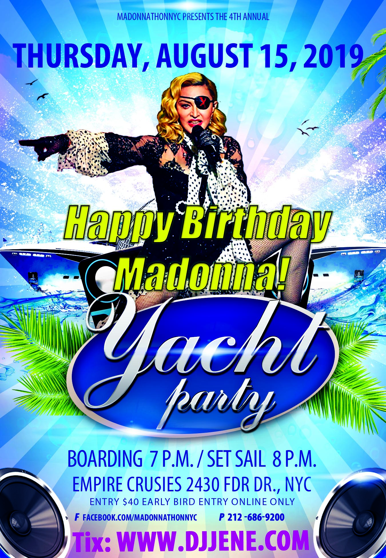 madonna yacht party flyer